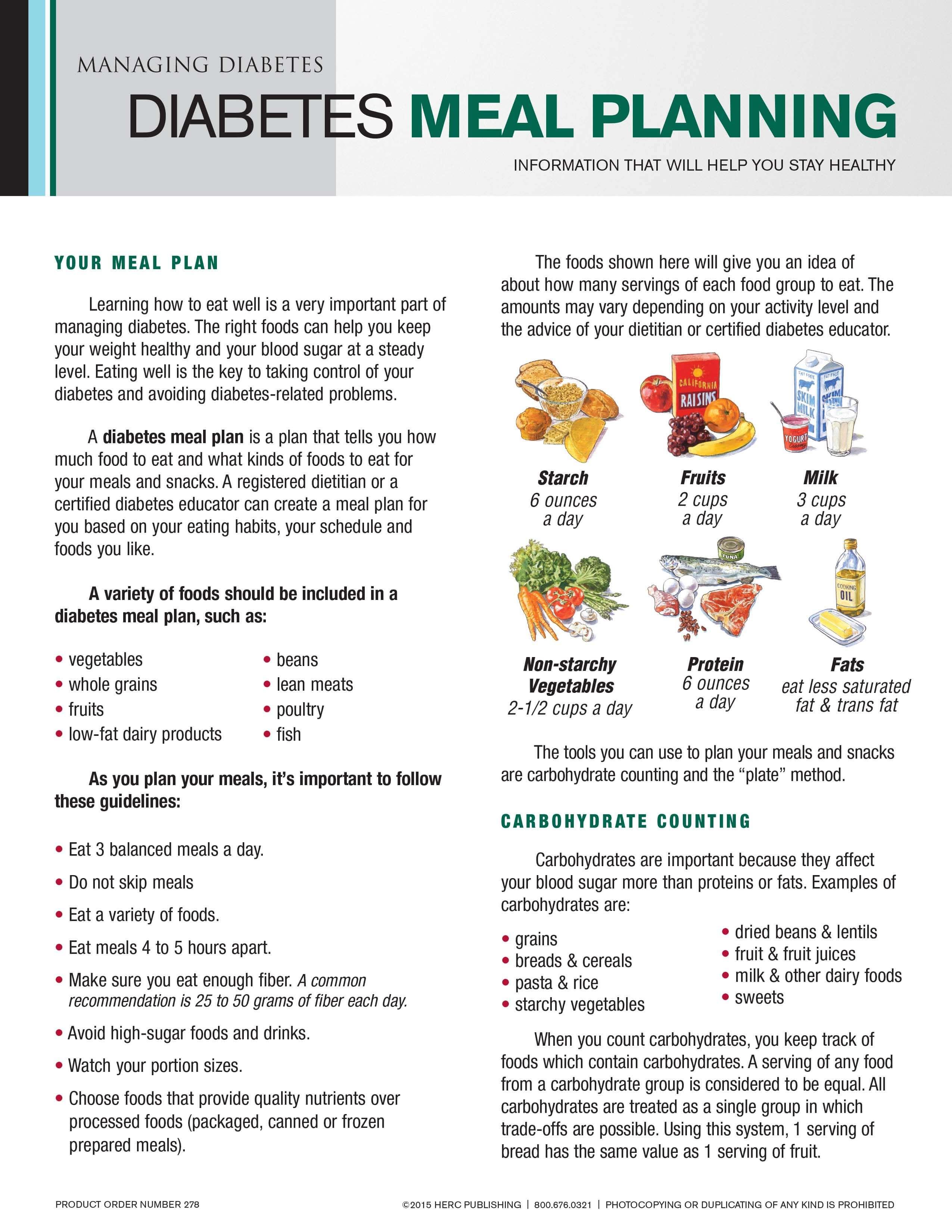 Diabetic Meal Plan Sample
